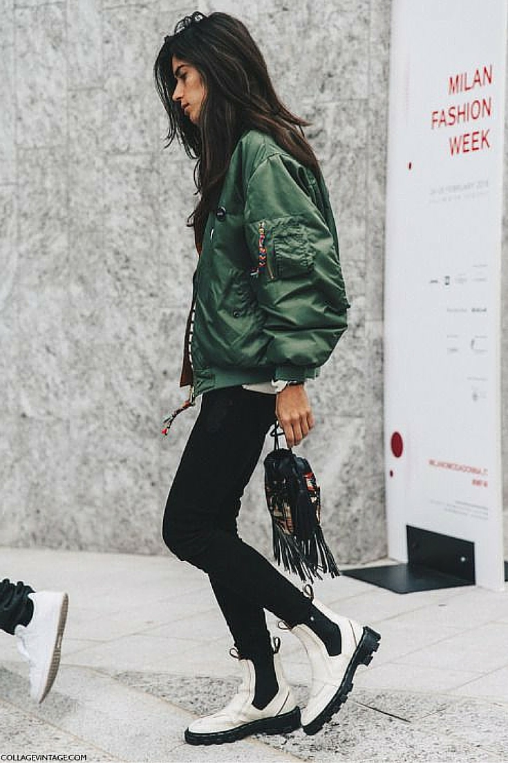 sneakers and pearls, street style, khaki aviator bomber jacket, white booties, trending now.jpg