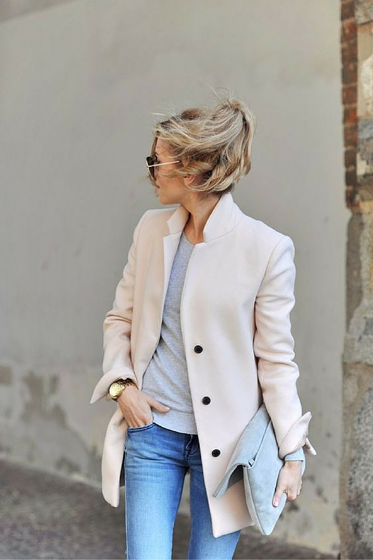 sneakers and pearls, street style, jeans with a grey jumper and a long blazer, trending now.jpg