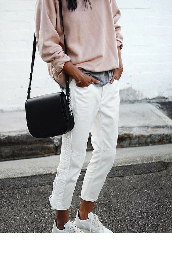 sneakers and pearls, street style, white jeans with a grey tee and a pink sweatshirt, trending now.jpg