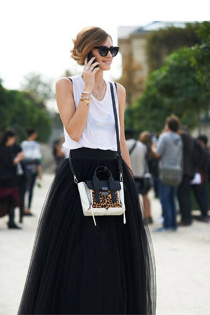 sneakers and pearls, black and white ensemble, sexy is back, black long tulle skirt with a plain tank top, Celine bag, trending now.jpg