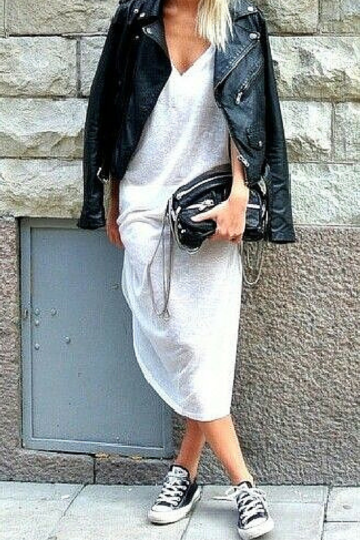 sneakers and pearls, street syle, white long dress with a leather jacket and black converse sneakers, trending now.jpg