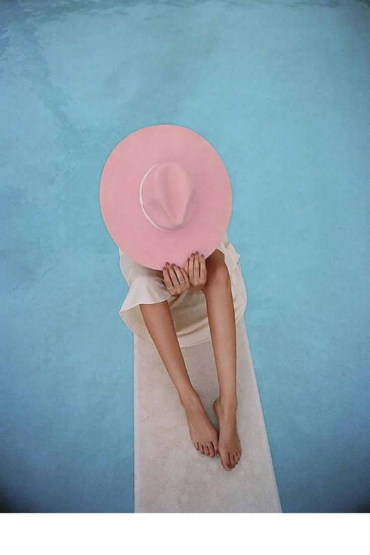 sneakers and pearls, pop, summer, swiiming pool shot, pink felt hat, beach life, always trending.jpg