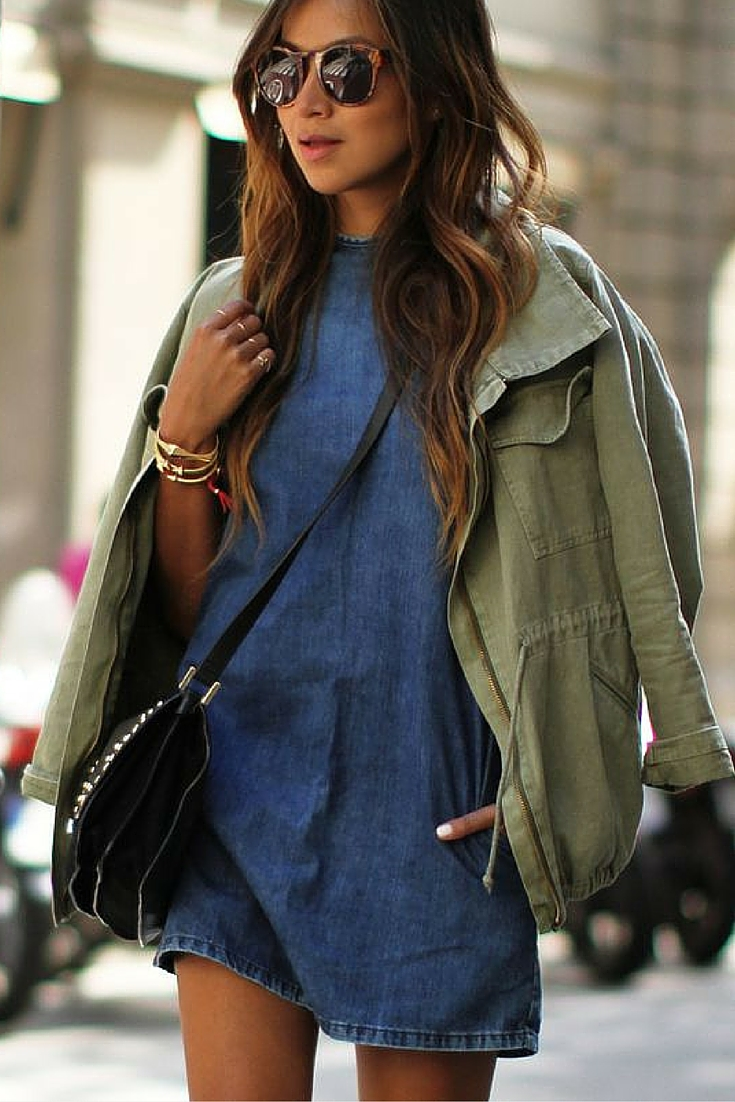 sneakers and pearls, ldenim dress with a khaki short parka, summer, urban style, trending nowjpg.jpg