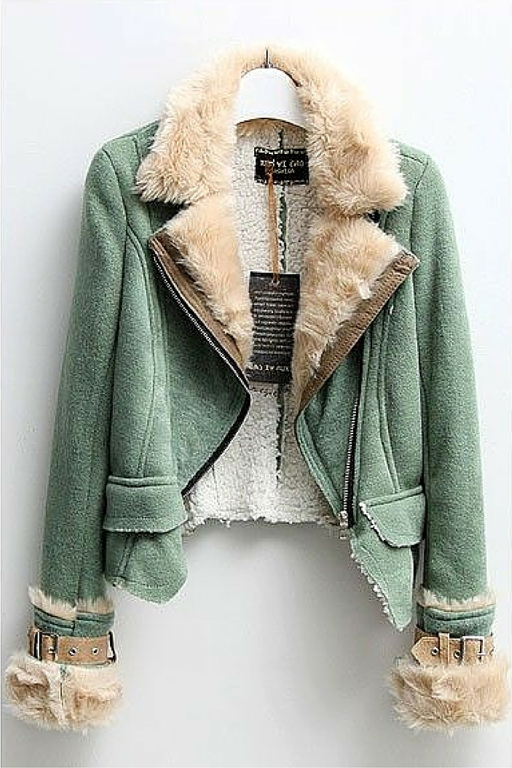 sneakers and pearls, shearling coat in green , bohemian style, trending now.jpg