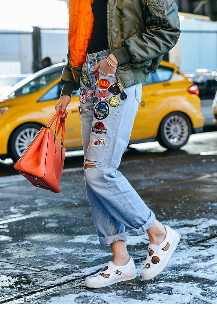 sneakers and pearls, street style, what to wear on a cold weekday, khaki aviator jacket with orange lining, trending now.jpg
