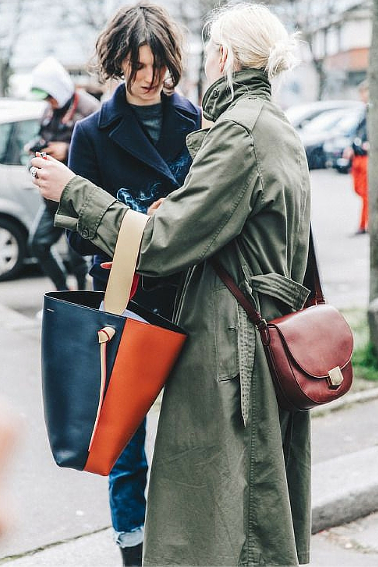 sneakers and pearls, street style, what to wear on a cool weekday, khaki trench coat, celine bag, trending now.jpg