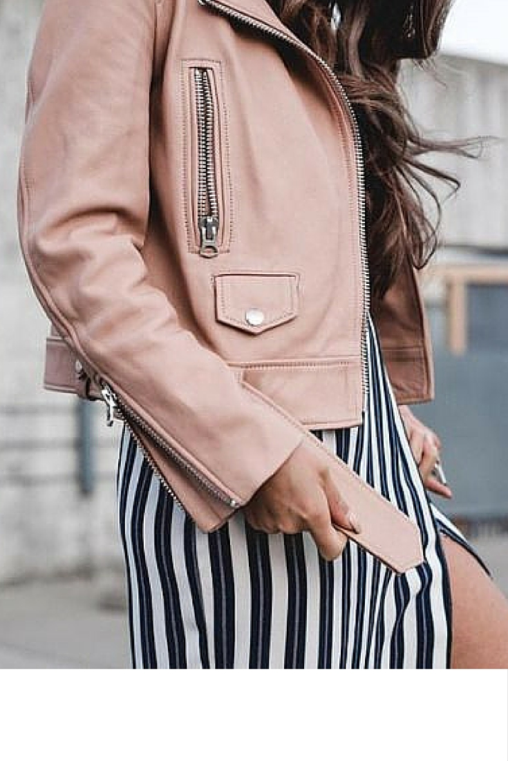 sneakers and pearls, street style, black and white stripy dress with a soft pink jackett, always trending.jpg