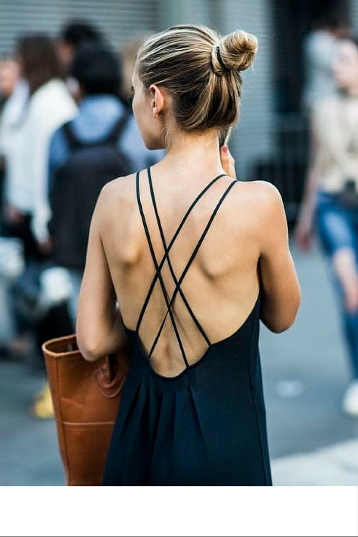 sneakers and pearls, backless long black dress to wear everyday, street style, fashionista, trending now.jpg
