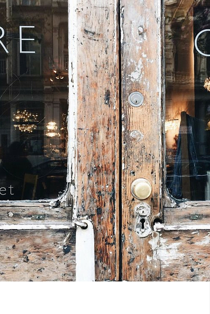 sneakers and pearls, old buildings, wooden doors, doors to open to the your usual coffee, trending now.jpg