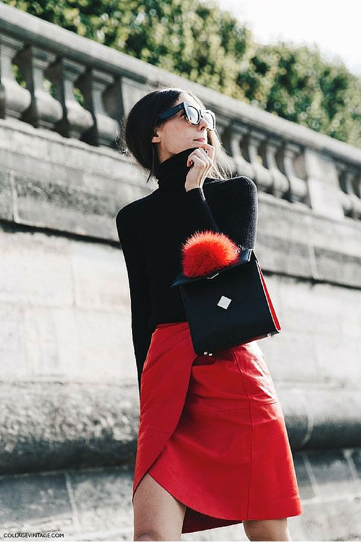 sneakers and pearls, street style, red skirt with a black high neck jumper, red fur pom pom, stylish, trending now.jpg