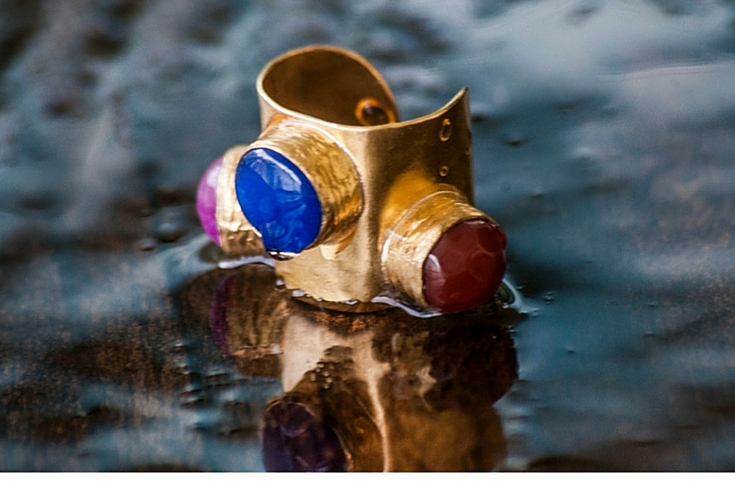 sneakers and pearls, one off rings, gold ring with cobalt rose quartz and red agate small  stones, trending now.jpg
