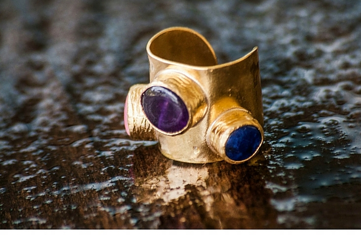 sneakers and pearls, one off rings, gold ring with rose quartz amethyst and cobalt small stones, trending now.jpg