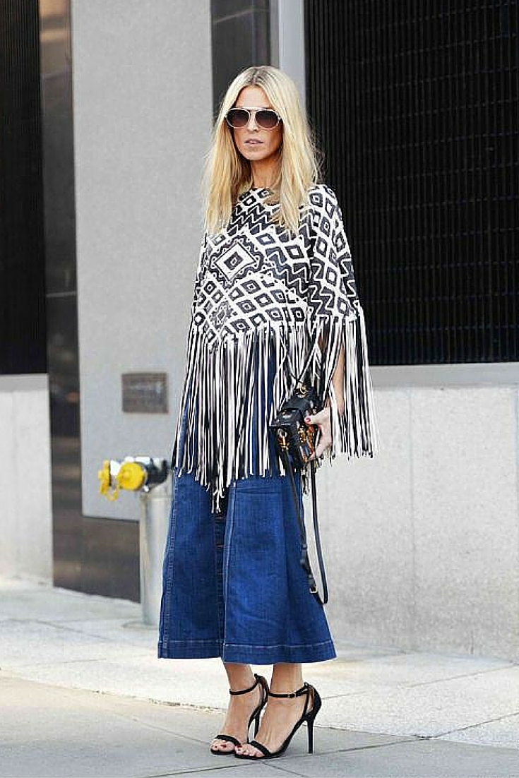 sneakers and pearls, street style, bohemian style, cropped wide denim pants with high heeled sandals, fringed poncho, trending now.jpg