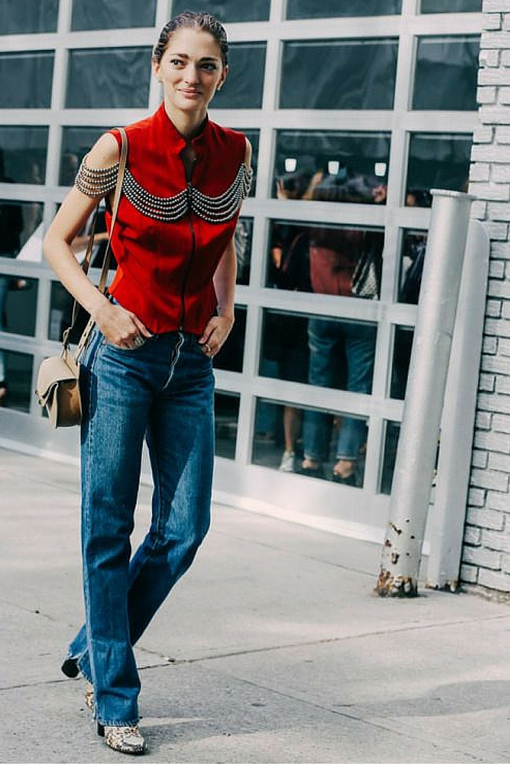 sneakers and pearls, street style, contemporary bohemian style, cut your denim pants and team them up with snake skin boots ,trending now..jpg