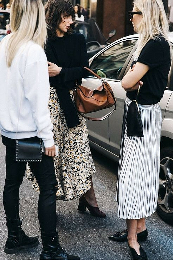 sneakers and pearls, street style, simple style with fancy skirts and black tee and knits, trending now.jpg