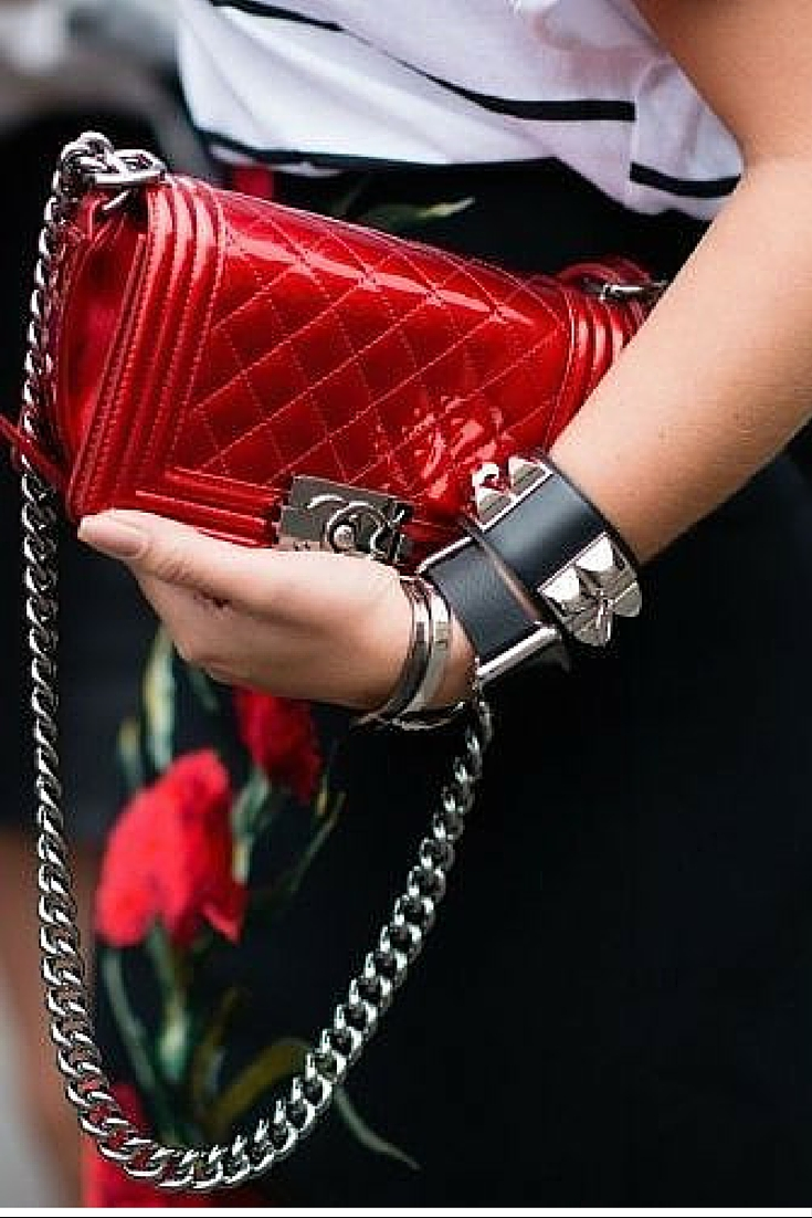 sneakers an pearls, street style, red chanel boy bag,arm candies, hermes cuff, trending now.j.jpg