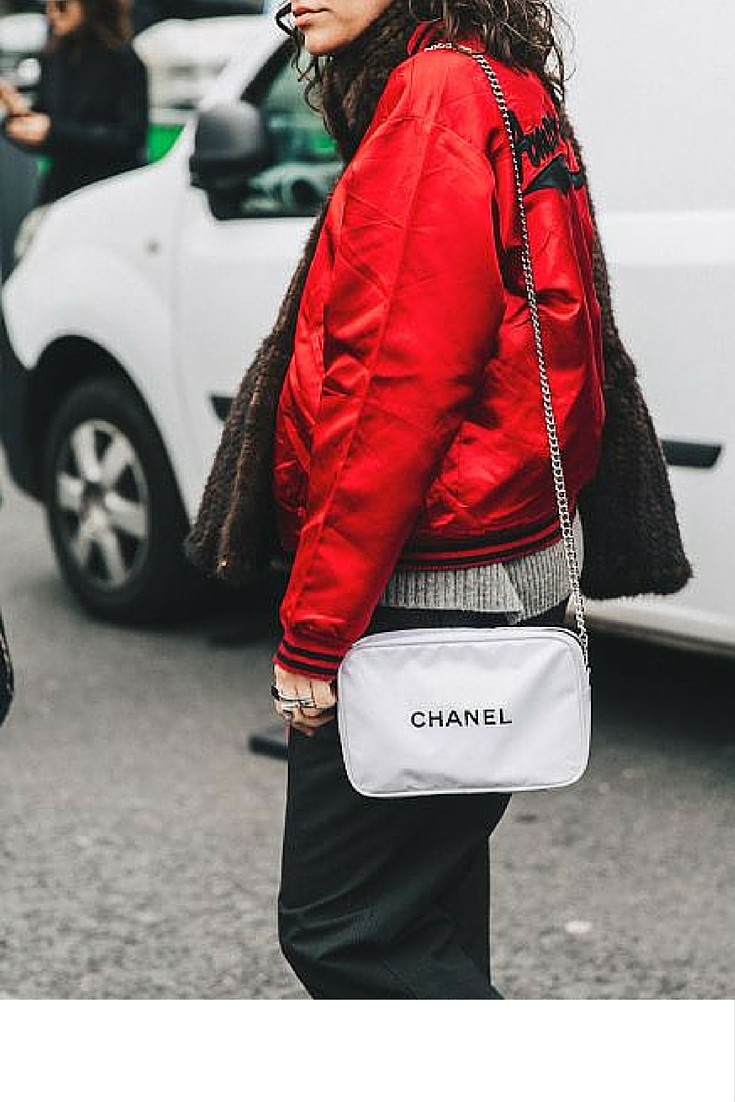 sneakers an pearls, street style, red satin bomber jacket, chanel bag, trending now.jpg