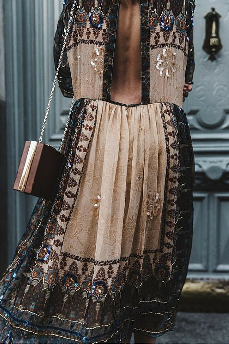sneakers and pearls, street style, boho chic, bohemian backless dress, trending now .jpg