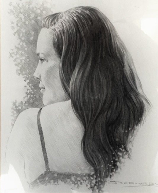 Sketch of Rebecca Edwards by her husband, Joel Edwards, who is also a Waco 52 artist.
