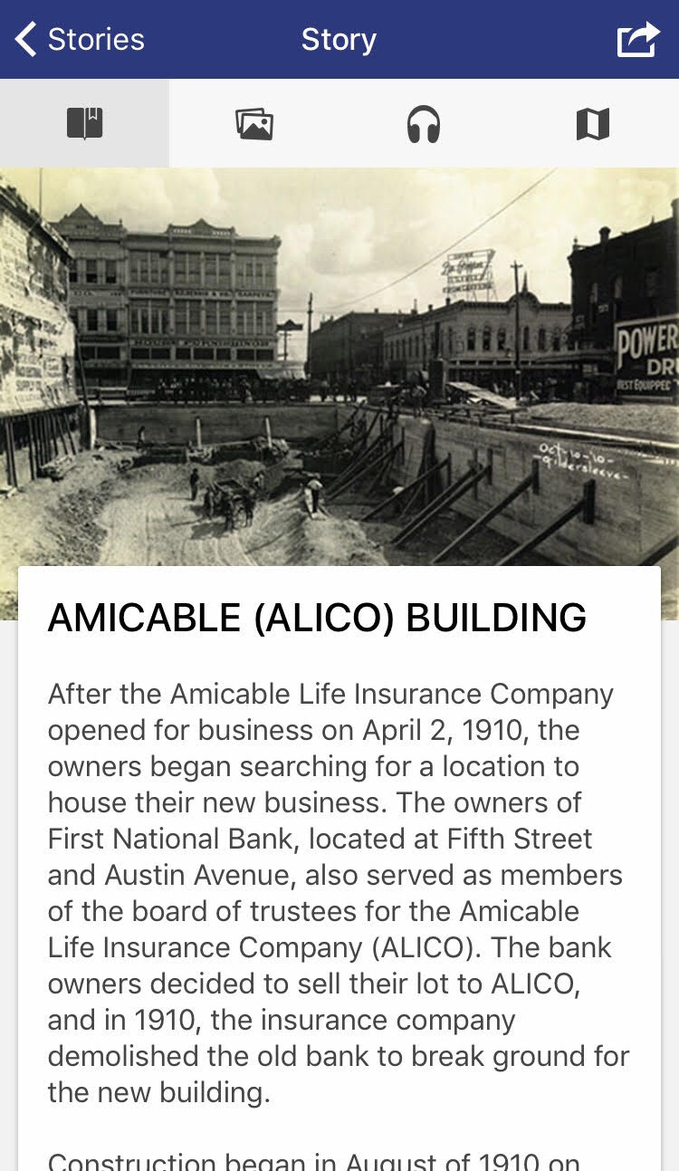 A screenshot of the Waco History app.