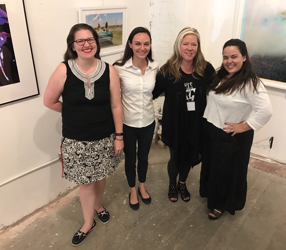 (L to R) Claire Sexton & Meg Gilbert of Art Center of Waco, Jennings Sheffield of SPE and Rebekah Hagman of Cultivate 7Twelve