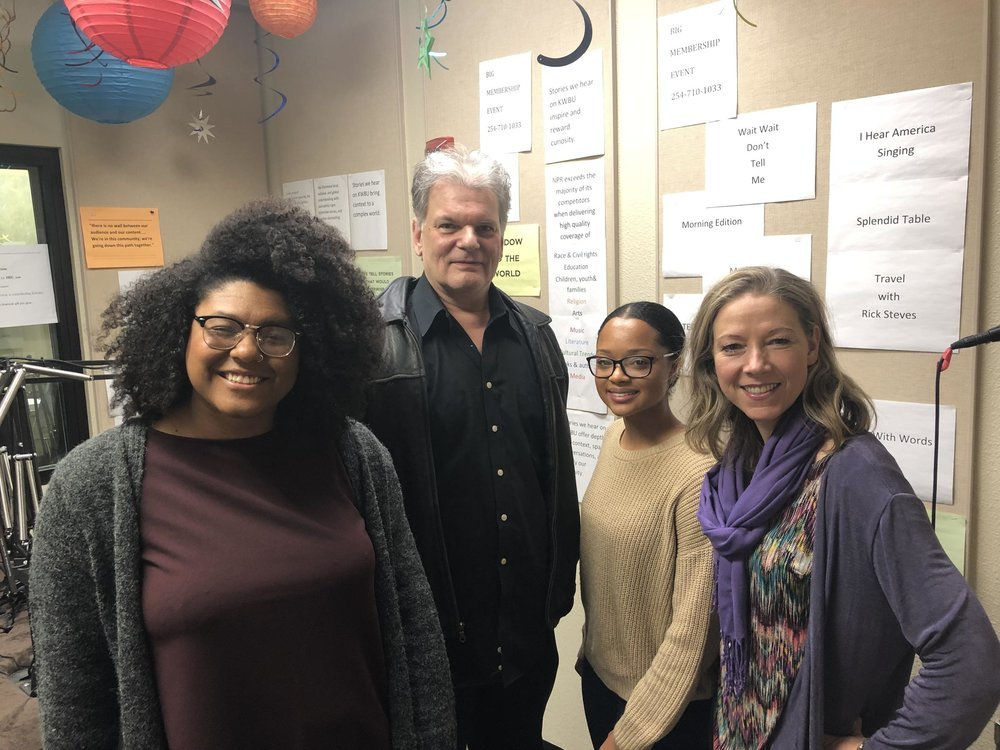 (From left to right) Rae Jefferson, Chuck Jennings, Kennedy Sam and Fiona Bond in the KWBU Studios on Jan. 15, 2019.  (KATELEIGH MILLS/KWBU RADIO)