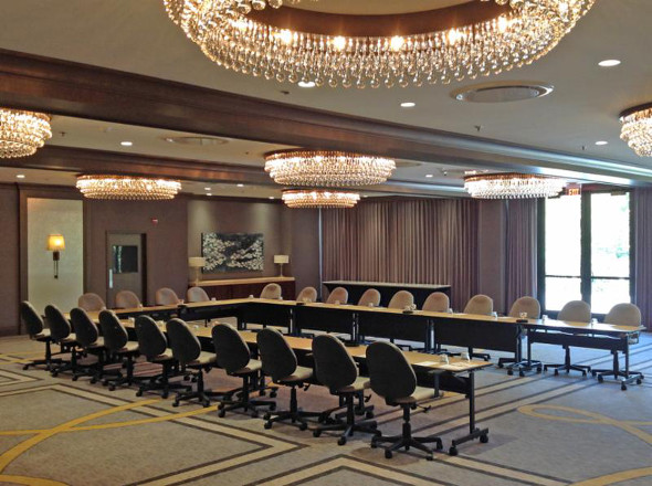 View of completed meeting rooms at Oak Brook Doubletree with art installed on side wall |  image via Hotel Design Magazine