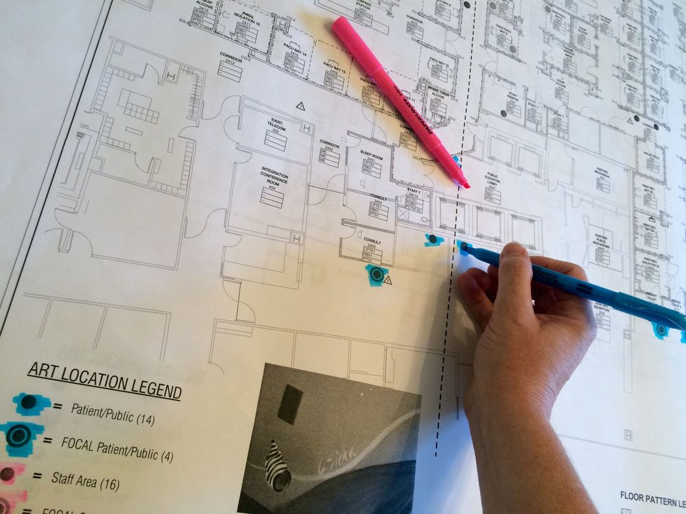Planning art locations.