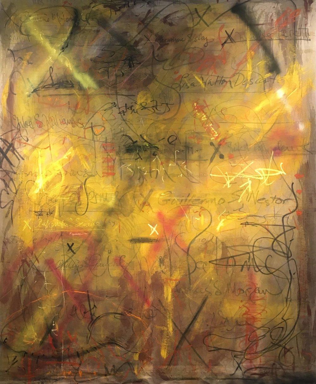"Elyse Defoor, By the X, mixed media on muslin, 108"" x 90"""