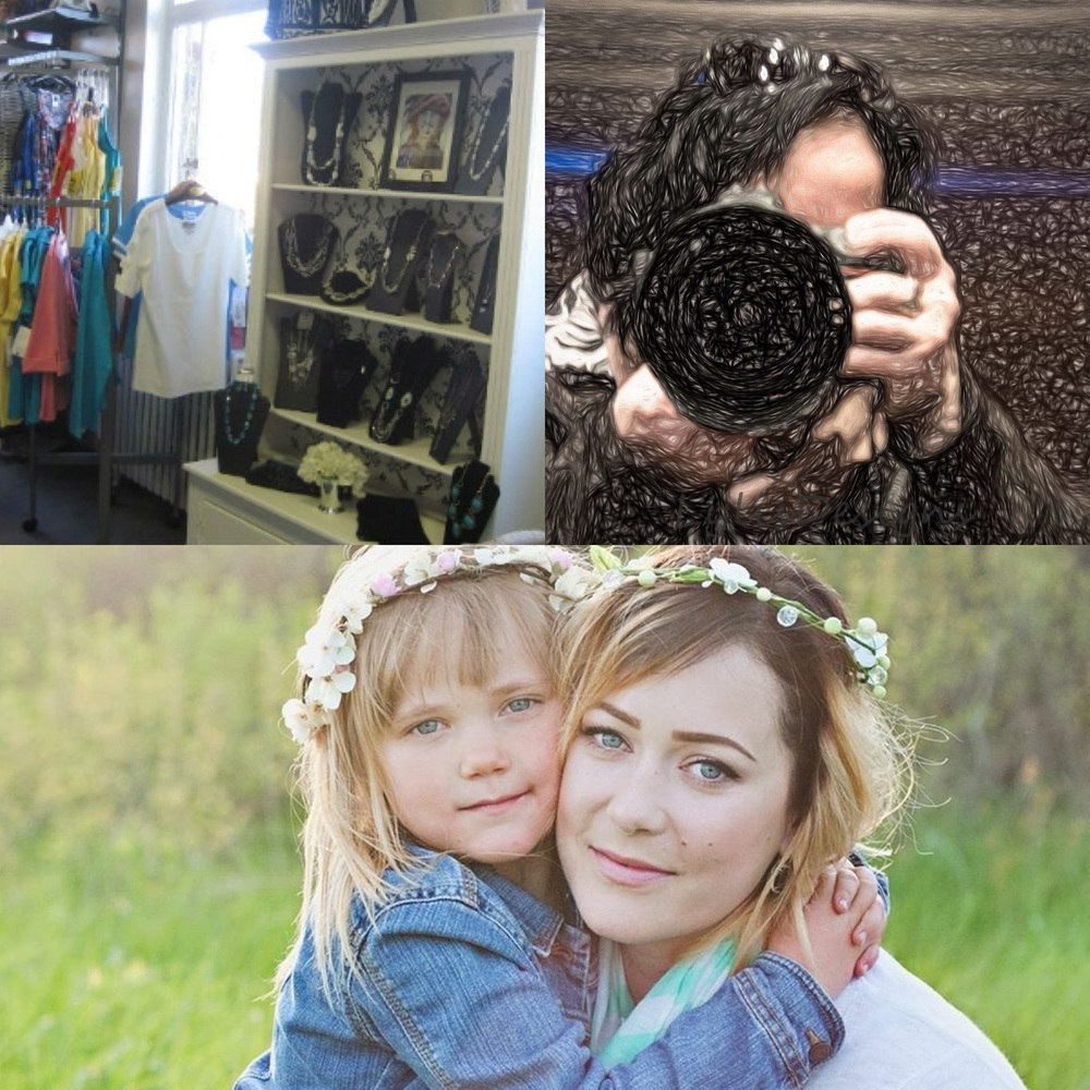 Clockwise: Posies Flower & Gifts, Gail Burstyn of Capture Your Light Portraits and Jaimie Jolly with her daughter Scarlett.