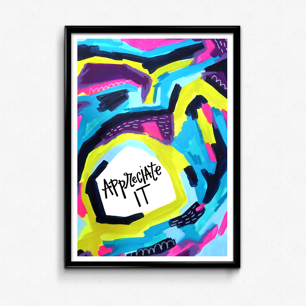 A friendly reminder to show gratitude for the things you see around you! $25 giclee print available at the Made Vibrant Art Shop!