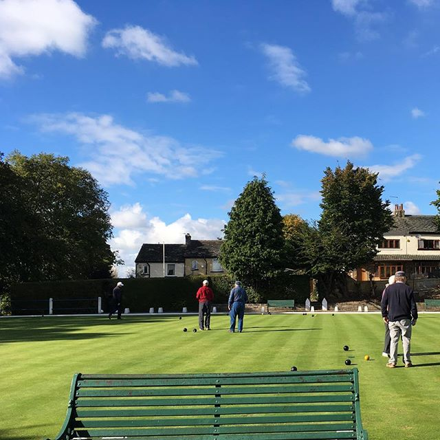 A day in West Yorkshire...the bowling green at Spen Victoria. My grandparents lived in the house on the far left.