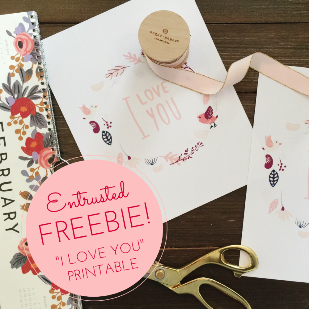 """Free Valentine\'s Day Printable: """"I Love You"""" Lettering In Floral ..."""
