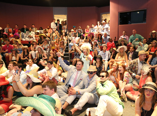 The Packed Viewing Room, Derby Days 2015