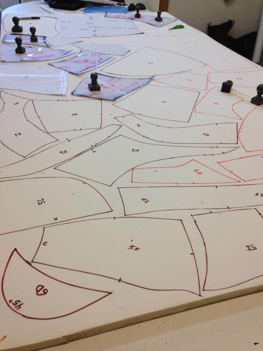 Tiger Head patterns traced to foam by Matthew McAvene