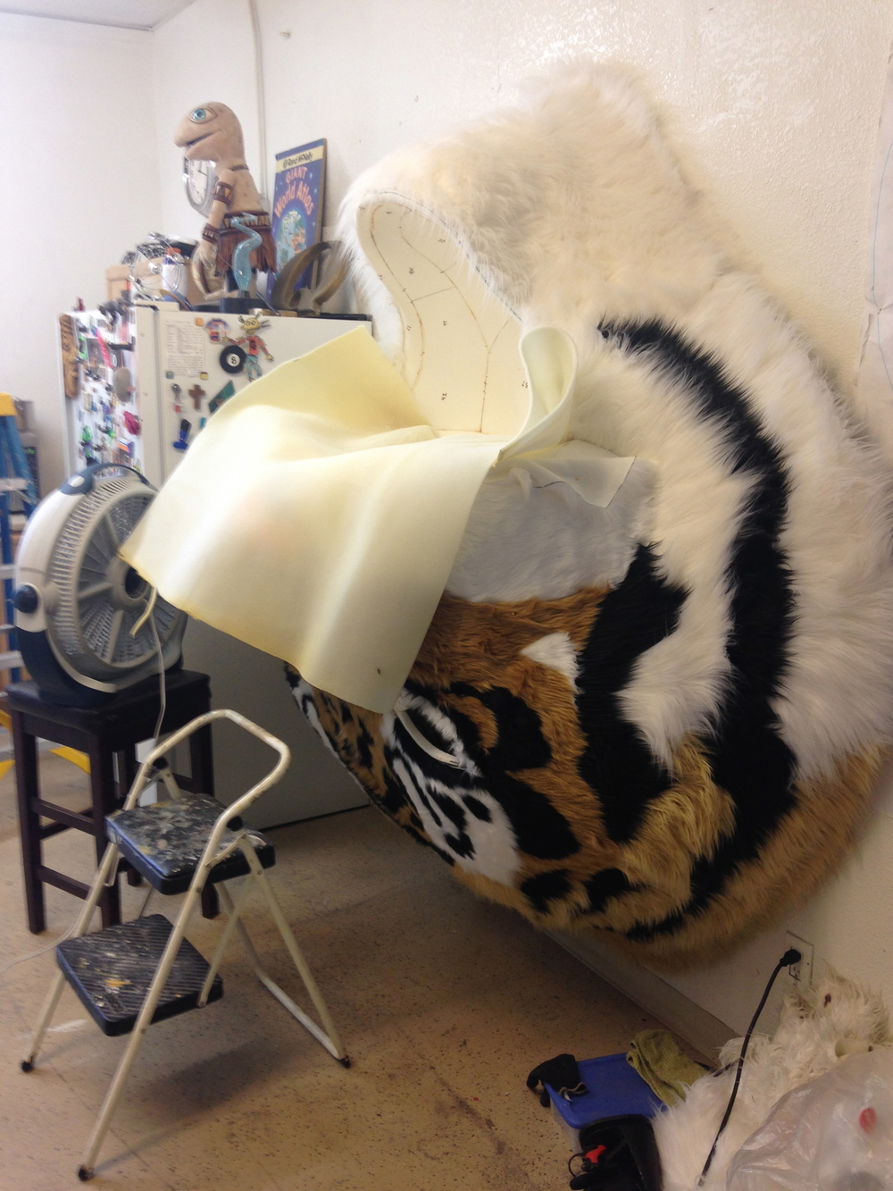 Matthew McAvene creates mouth texture for tiger heroes sculpture.jpg