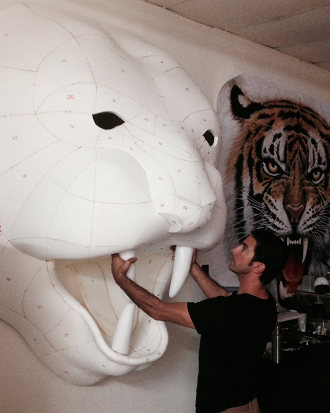 Matthew McAvene holds the sculpted teeth up to the tiger head sculpture.