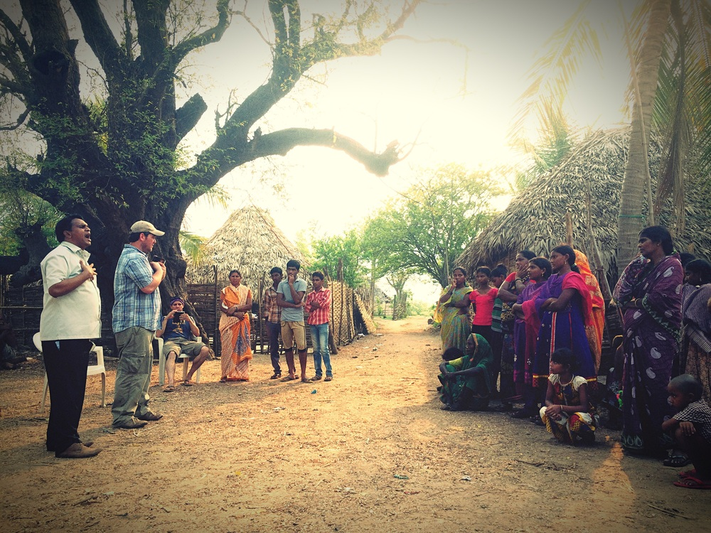 Preaching to the Koya villagers on the Godavari River