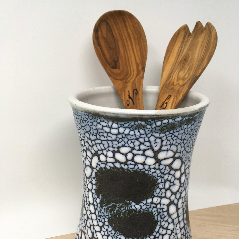 Crackle Utensil Crock — Nicole Marie Hummel Pottery