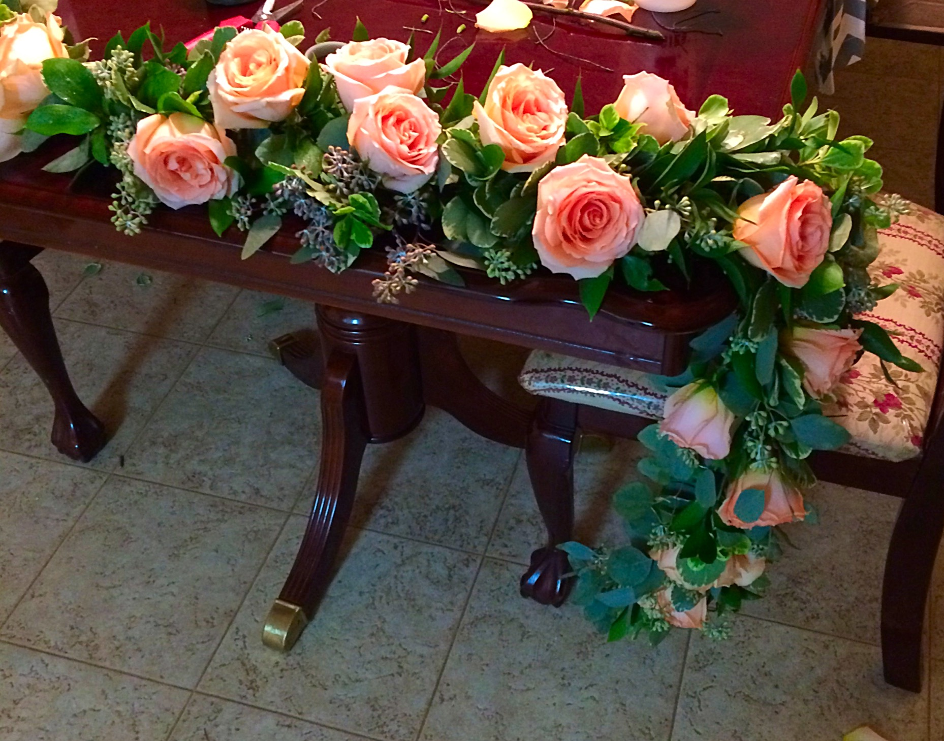 Excuse My Messy Kitchen But Heres The Garland All Finished After I Added A Few Stems Of White Veronica