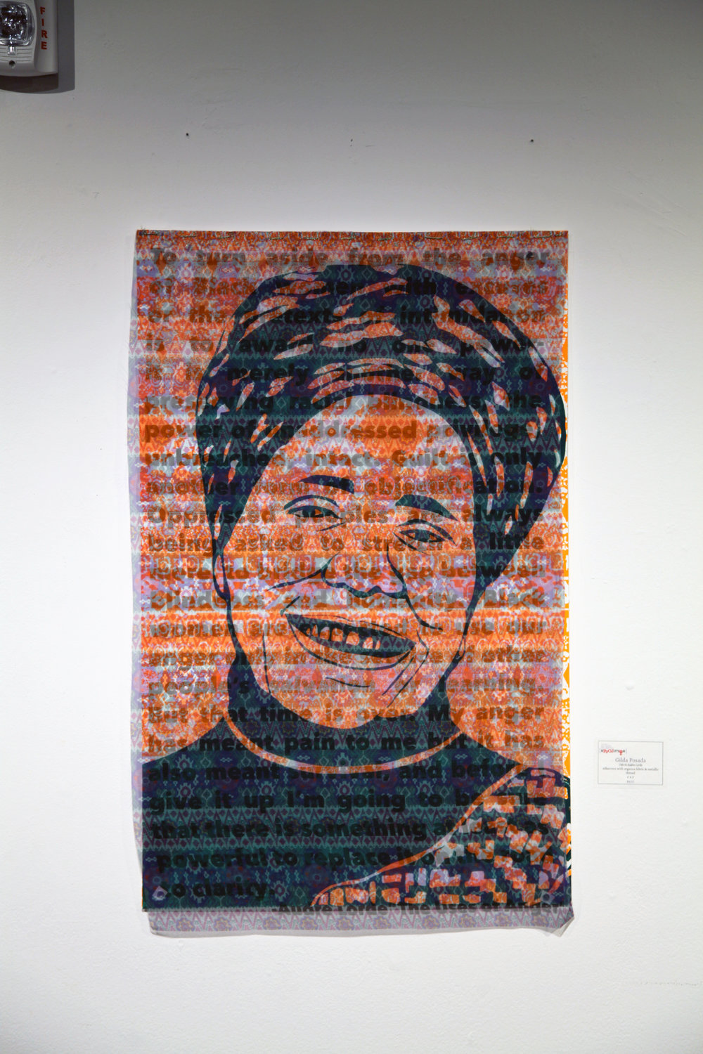 Oda a Audre Lorde Silkscreen and Organza Fabric with Gold Thread 2017