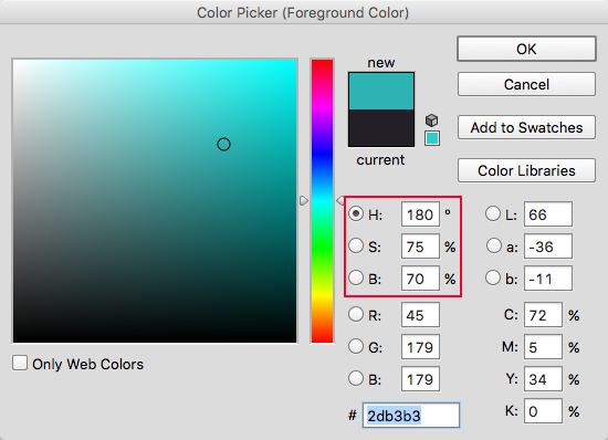 The color picker panel in Photoshop. We only need to be concerned with adjusting HSB.