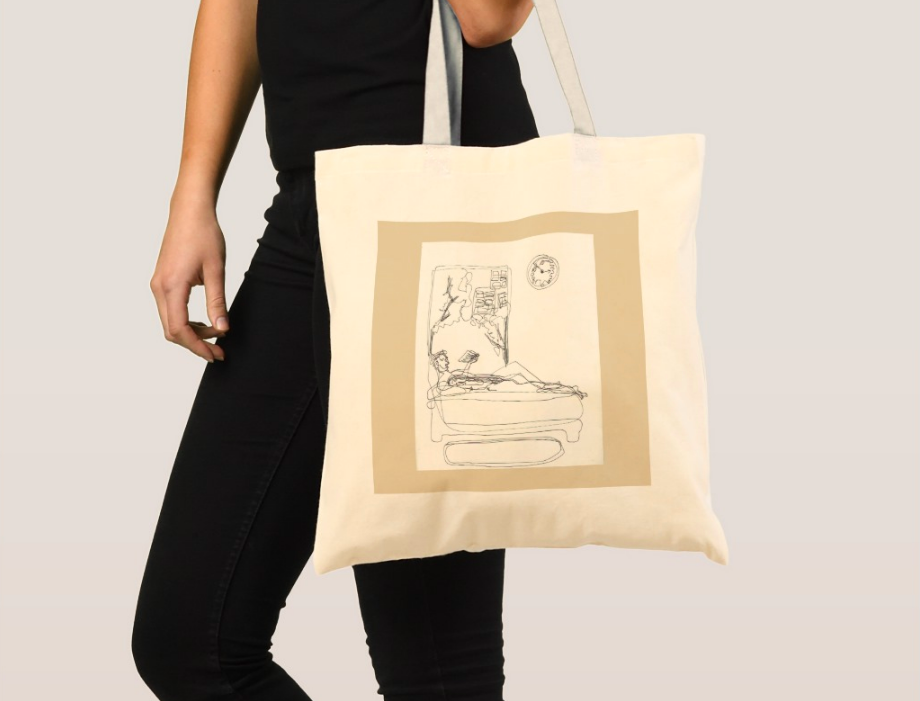 linear art print on tote 2018
