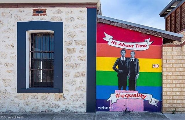 So we'll let you into a little secret... today is our wedding day! ❤ And we couldn't think of a more perfect post to mark the occasion than this powerful mural by @rebootstencils in Freo. We have many friends in the Australian LGBTI community and we can't wait to see the day when they can marry their loved ones and feel as happy as we do today! 💍🏳️‍🌈 🥂 #marriageequality #loveislove #fremantle #australiamarriageequality #fremantle #weddingday #freo #streetsofperth #mural #streetart #perthstreetart