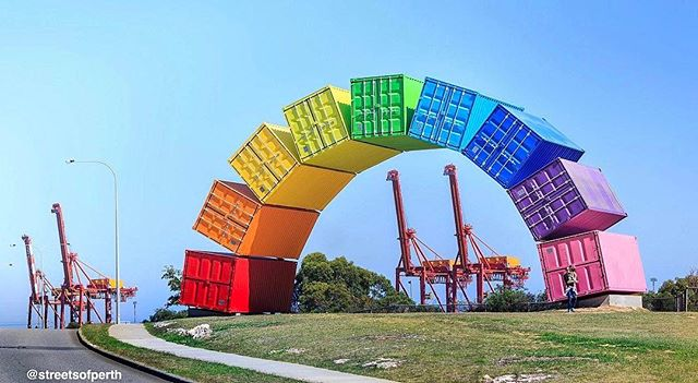 "Rainbows are sparkling all over town at the moment but this one in Fremantle is here to stay! 🌈 Measuring 19x9 metres and weighing a whopping 66 tonnes, ""Rainbow"" consists of nine brightly coloured sea containers and you'll find it at Beach Reserve on Canning Highway. It was constructed in August last year and designed by local artist Marcus Canning, who also designed another of our favourite local sculptures -""Ascalon"" - in 2011. In an interview with WA today last year, the artist explained, ""The rainbow is a symbol of many things including alternative and counter cultural hippy styles and aesthetics, a distinctive and ongoing element of the Freo character. The rainbow is associated with dreams, flights of fancy and the escapism of fantasy. It's a universal symbol of hope as well as aspiration."" #rainbow #containbow #fremantle #sculpture #marcuscanning #perth #westernaustralia #icwest #thisiswa #fremantle #freo"