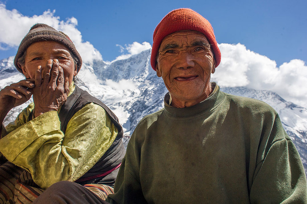 Ang Phuti, left, and her husband Ang Dawa are one of the oldest couples in Phortse.
