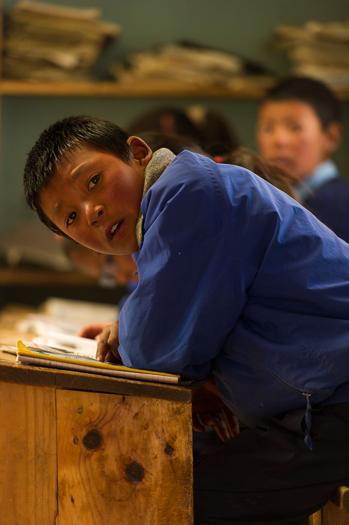 Fifth graders study for finals in Phortse. If families can afford it, this year's graduates will be send to Khumjung or Kathmandu to continue school.