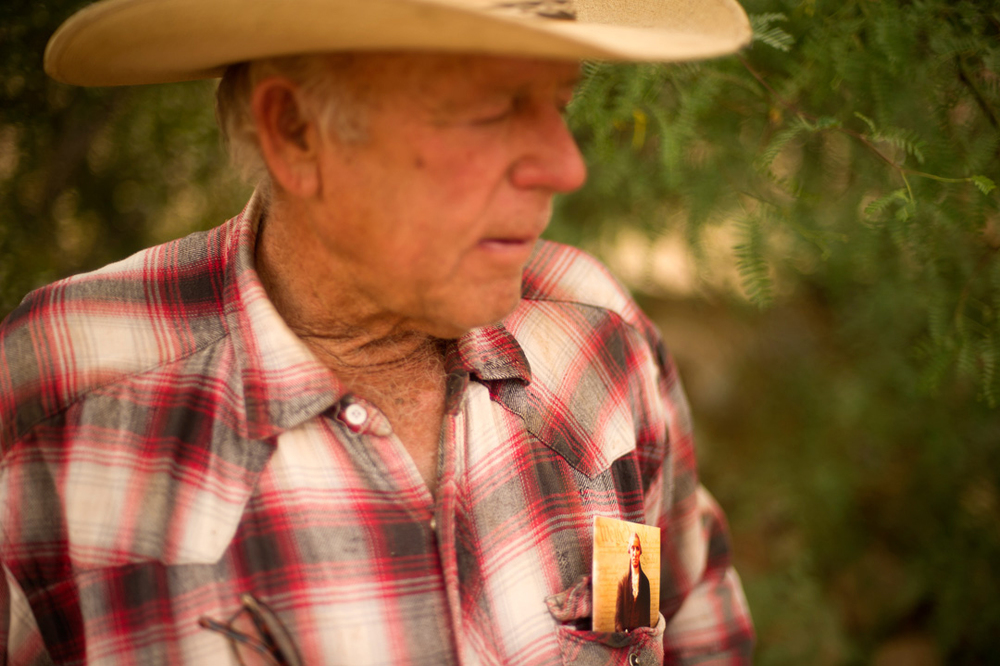 "2014- BUNKERVILLE, NEV- Cliven Bundy meets with supporters on his ranch a week after an armed standoff with federal rangers. ""This isn't about me,"" Bundy said ""It's about the constitution."""