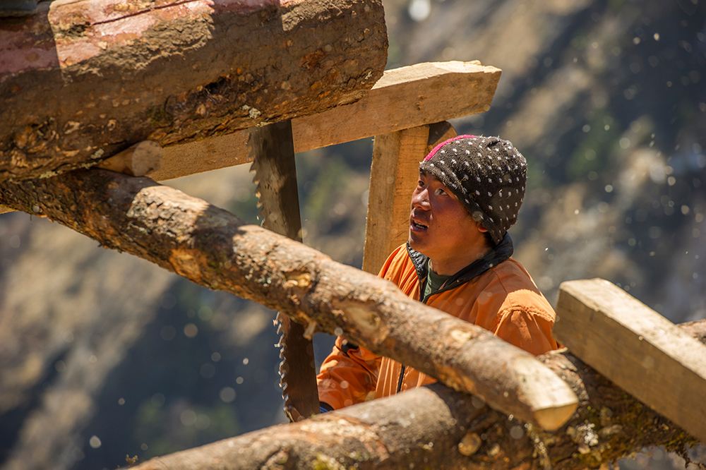 A construction worker saws a log into strips for use in the new Khumbu Climbing School in Phortse.