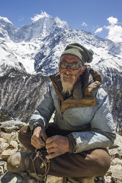 Karma Chhering is the oldest man in the village, but still walks up the steep hills every morning to put his yaks to pasture.